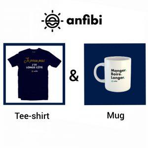Pack Mug & Tee-shirt Homme «Je peux pas j'ai longe-côte» bleu marine, Anfibi