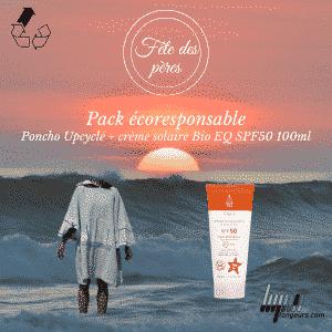Pack écoresponsable poncho upcylclé & crème solaire Bio  EQ SPF50 100ml
